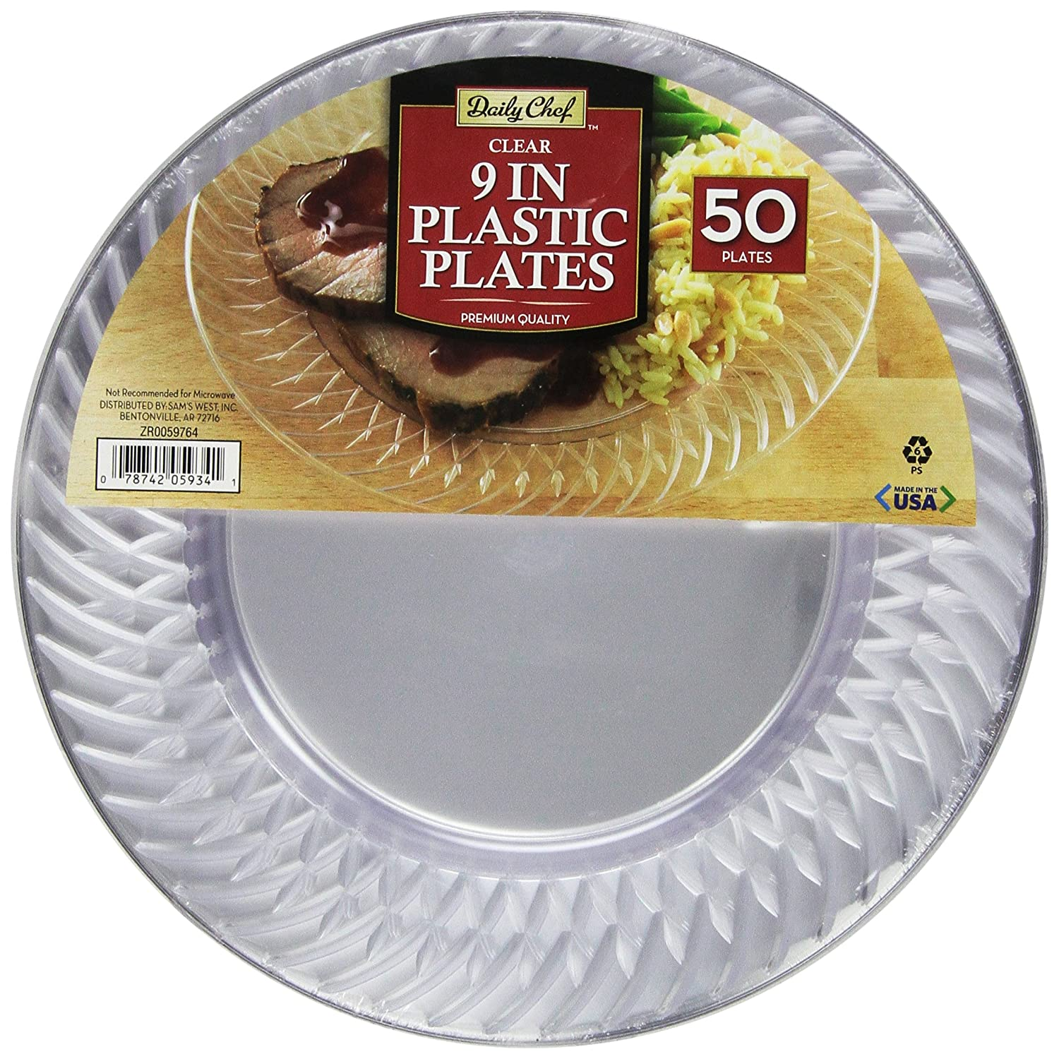 DAILY CHEF Clear Plastic Plates, 9, 50 Count, 4.5 lb 9 NA