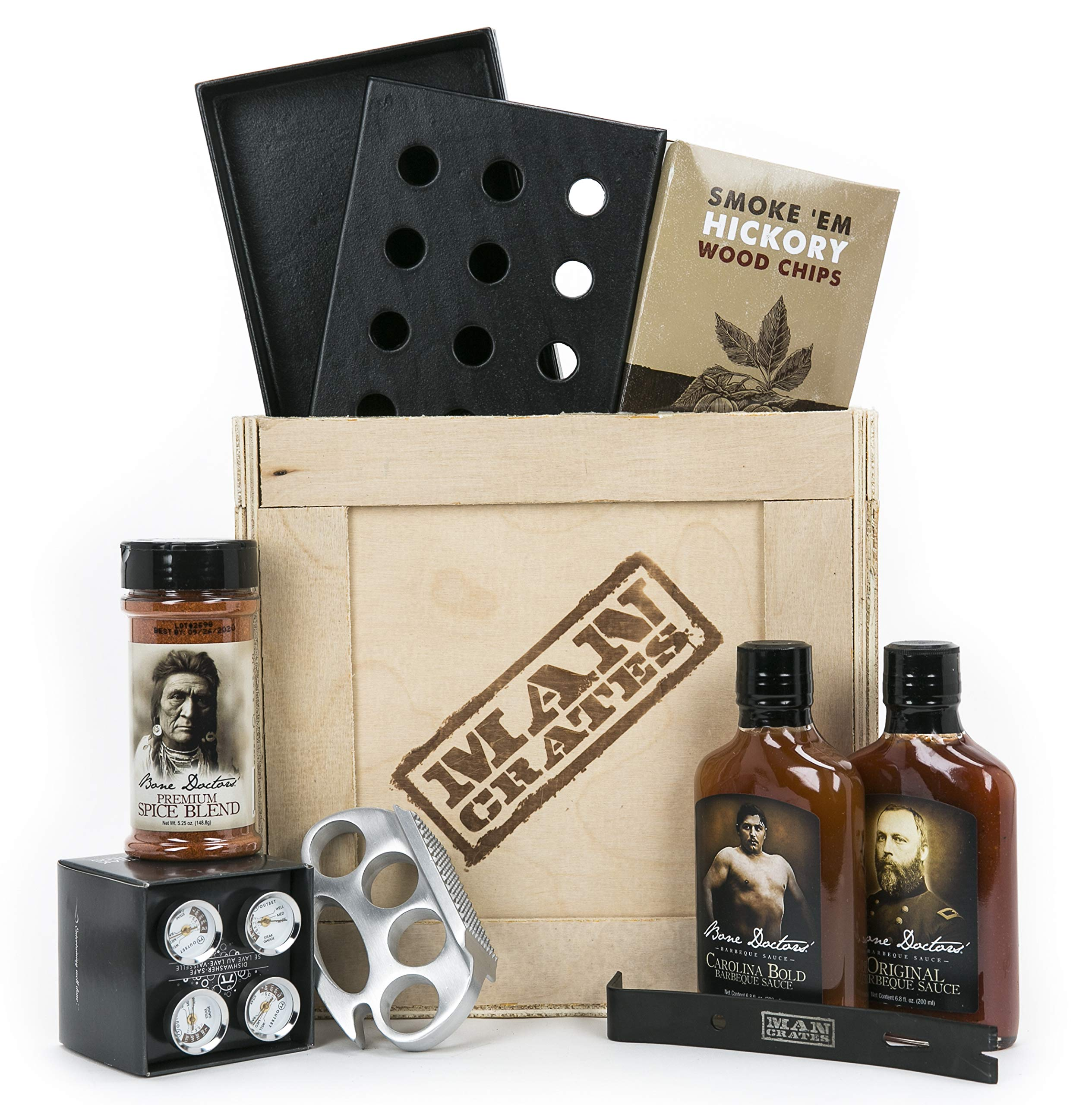 Man Crates Grill Master Crate with Wood Chips, Smoker Box, Sauce and Tenderizer - Great Gifts for Men