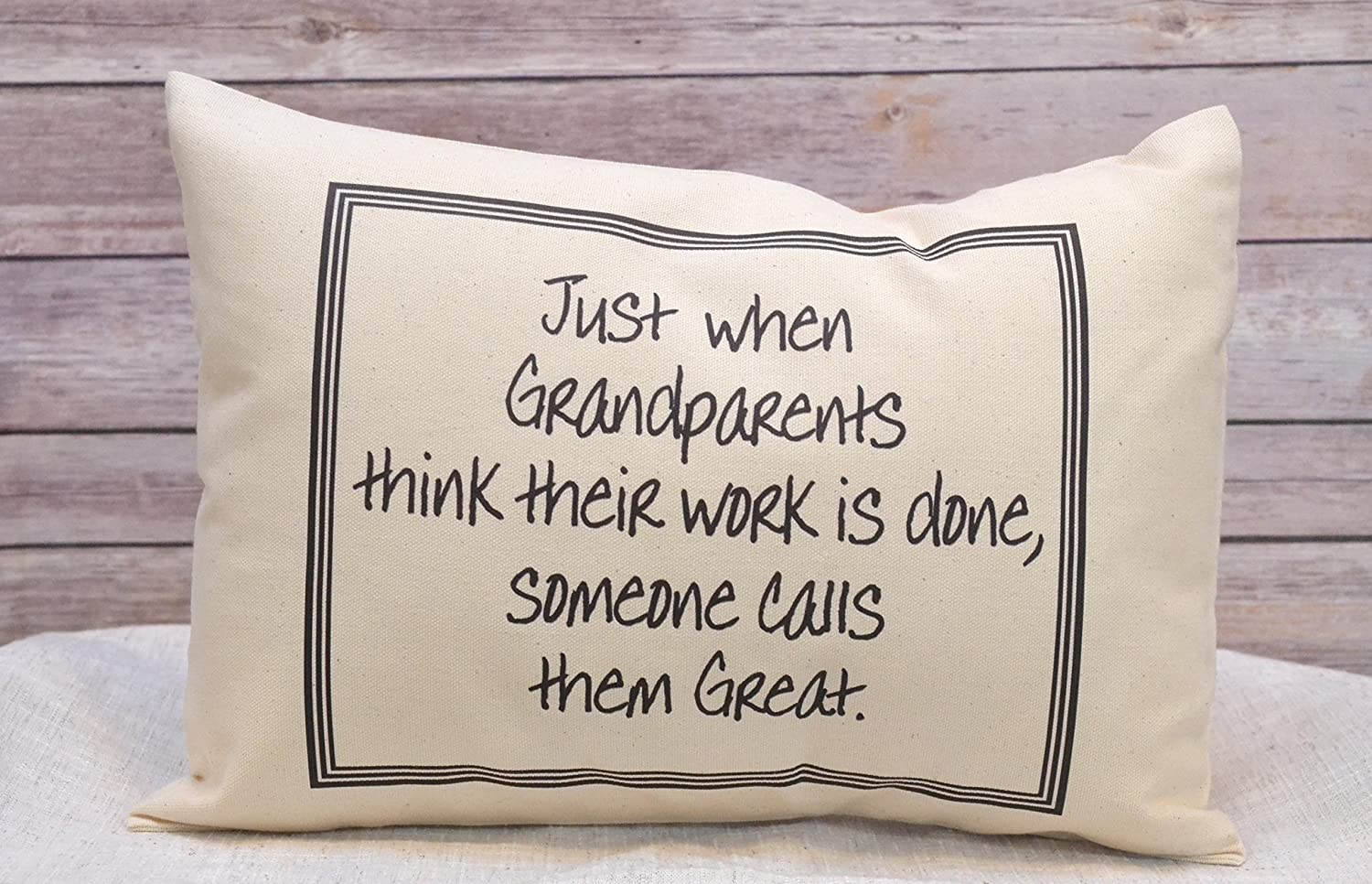 Pregnancy Reveal/Announcement Pillow for Great GrandparentsJust when Grandparents think their work is done, someone calls them Great
