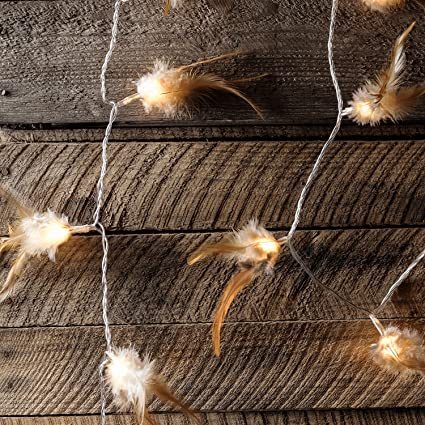 hot sale online 7f229 f617b 30 Brown Woodland Feather Indoor LED Fairy Lights