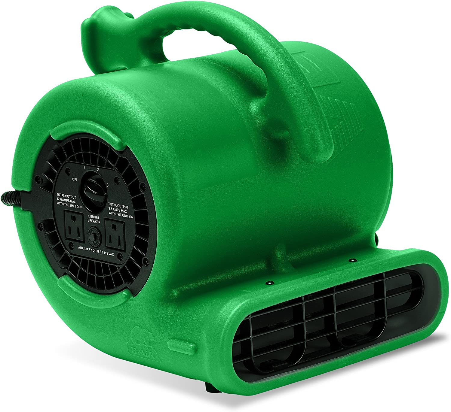 B-Air VP-25 1/4HP Blower Floor Fan, High Velocity Heavy Duty Industrial Air Mover, Utility Electric Carpet Dryer, Water Damage Equipment, Green