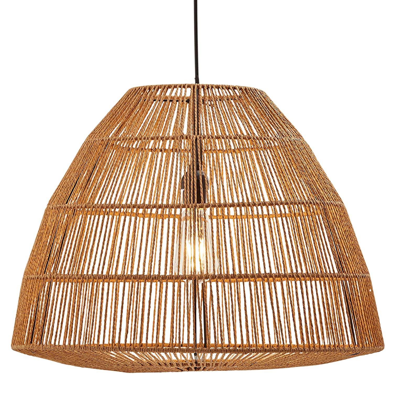 best sneakers b495e c59bf Stone & Beam Rustic Global Round Woven Lamp Shade Hanging Ceiling Pendant  Fixture with Light Bulb, 14.75