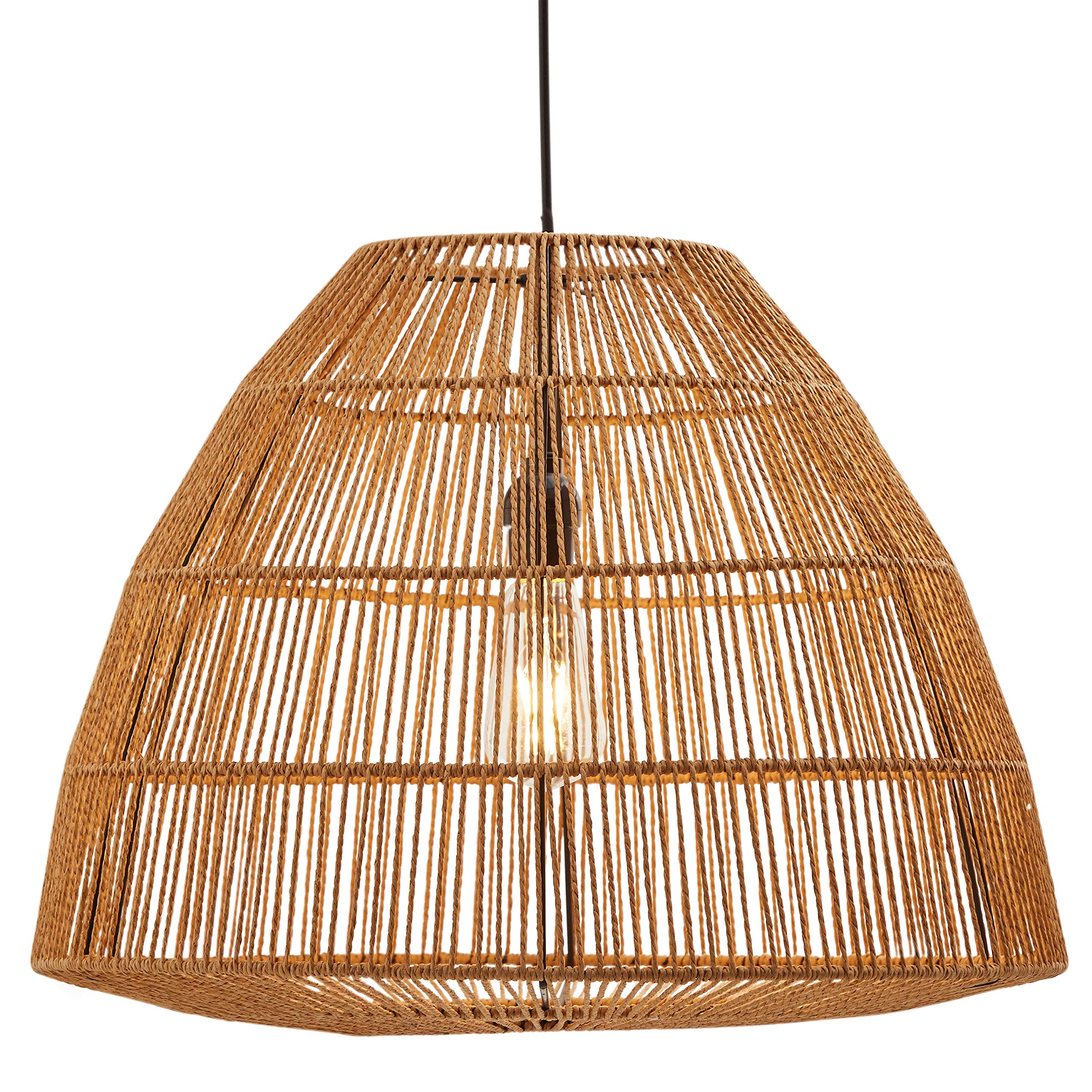 Stone & Beam Rustic Global Round Woven Pendant with Bulb, 44.5''H, Natural Rattan by Stone & Beam (Image #4)
