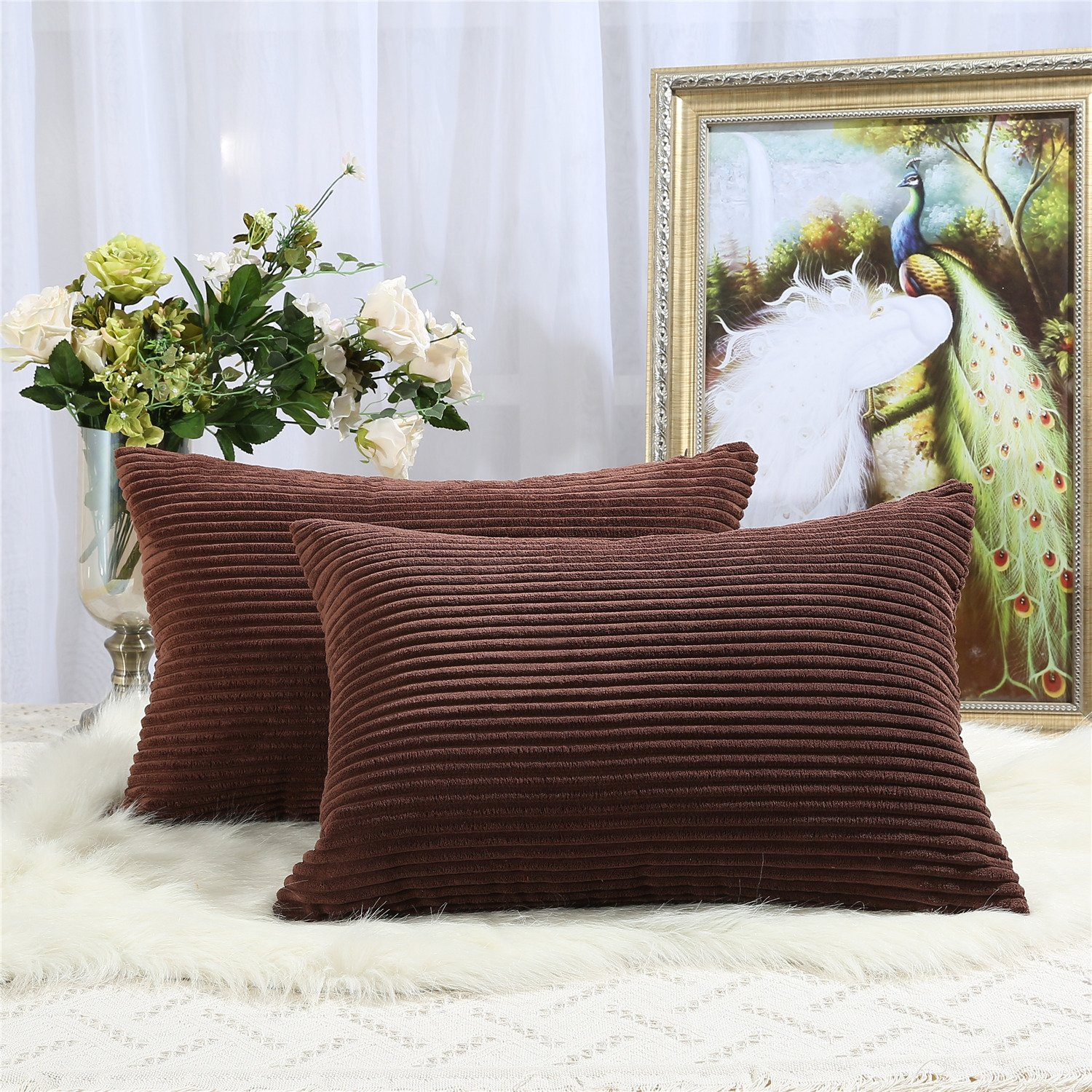 Miaote Pack of 2 Decorative Throw Pillow Covers Cases for Couch Bed Sofa,Striped Corduroy Velvet Cushion Covers for Baby, 16 X 24 Inches,Brown