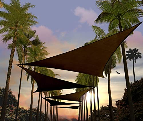 Amgo Custom Size 24' x 24' x 24' Brown Triangle Sun Shade Sail ATAPT32 Canopy Awning