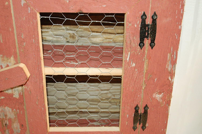Amazon.com: Barnwood Cabinet with Chicken Wire Front Door. Measures ...