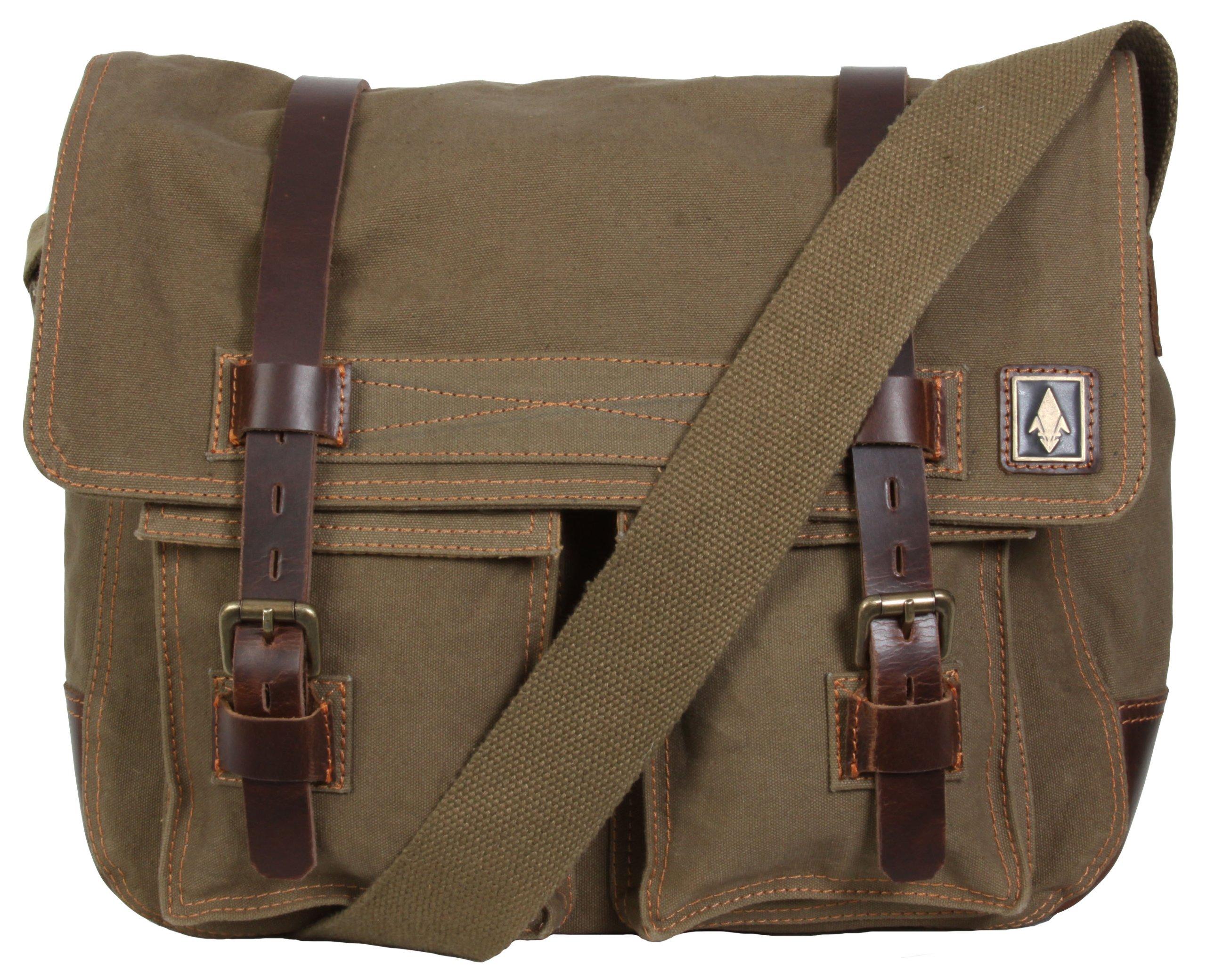 DamnDog Haversack 16.5'' Canvas Flapover Messenger Bag - Swamp Brown