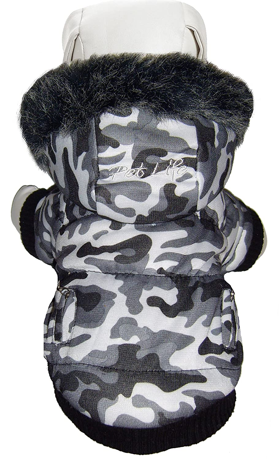Pet Life 1DSXS X-Small Deer Pattern Fashion Parka with Removable Hood