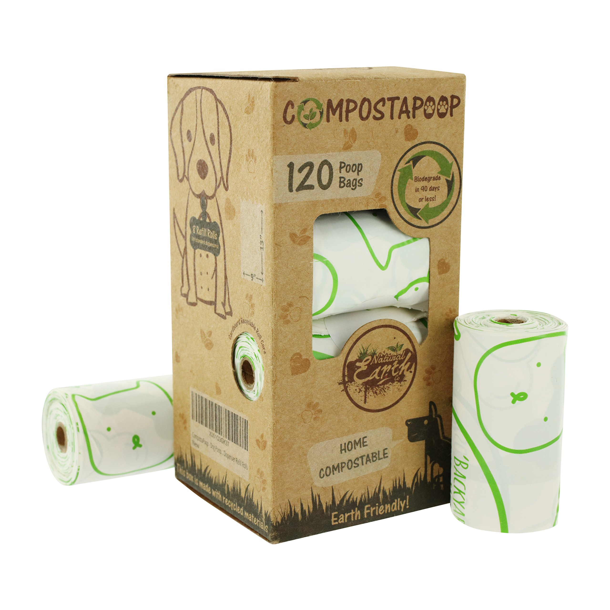 CompostaPoop Dog Poop Waste Bags Biodegradable Compostable Earth Friendly Dispenser Refill Rolls