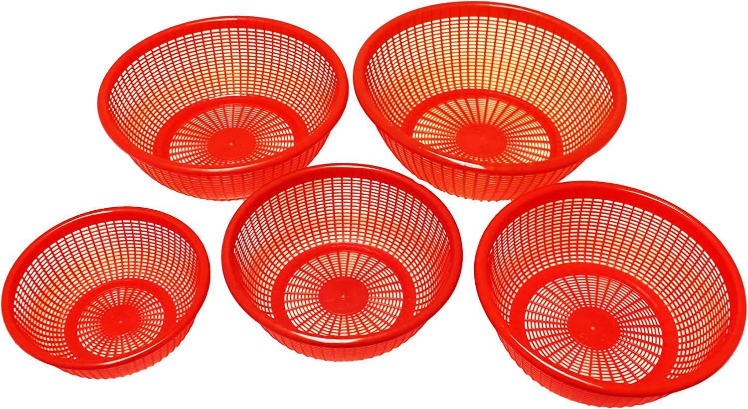 Excellante 5 Piece Plastic Perforated Vegetable and Wash Basket Set, Red