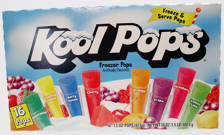 Kool Pops Freezer Pops - 8 Fruit Favors - 16 Count Box