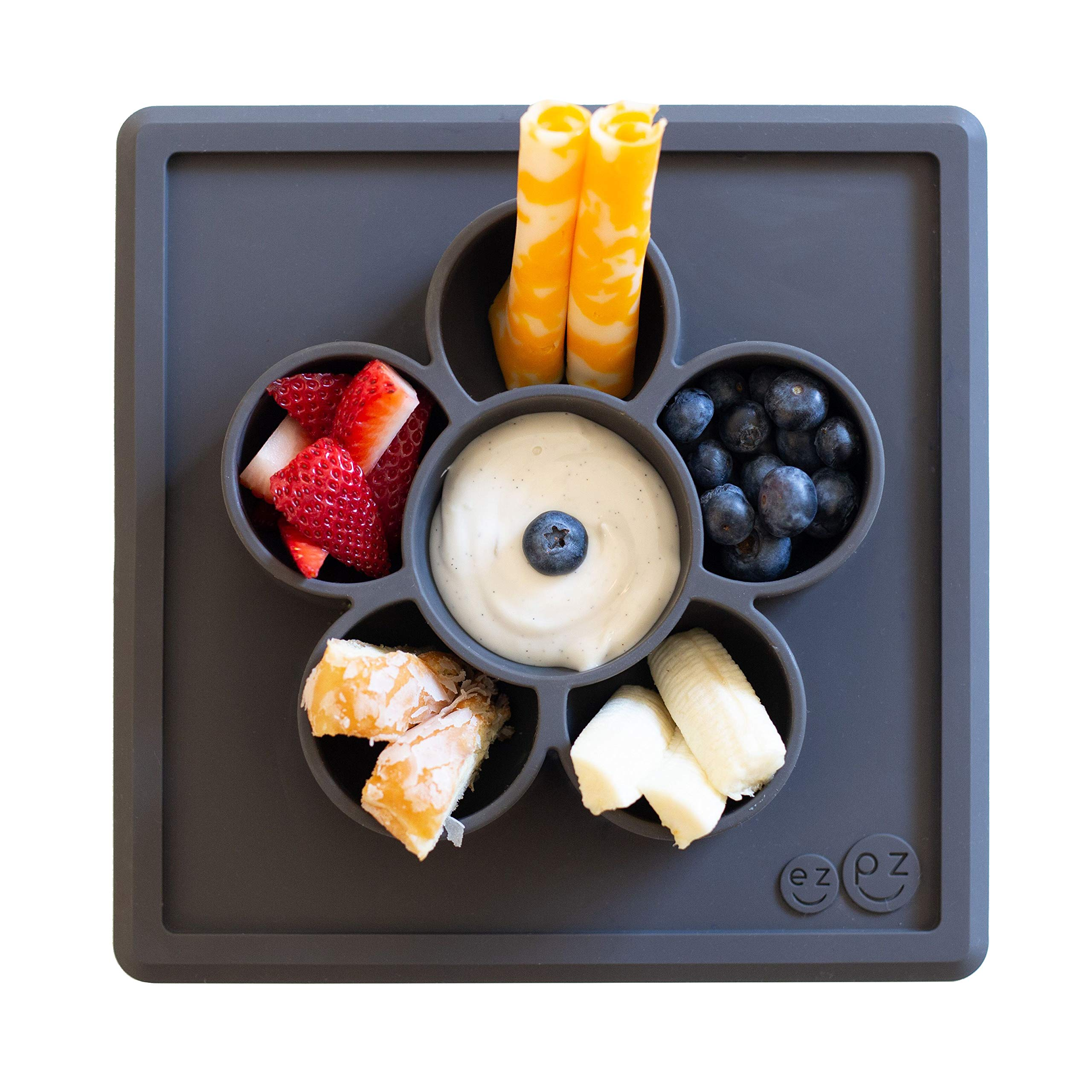 ezpz Mini Play Mat - One-Piece Silicone placemat + Flower compartments (Slate) by ezpz