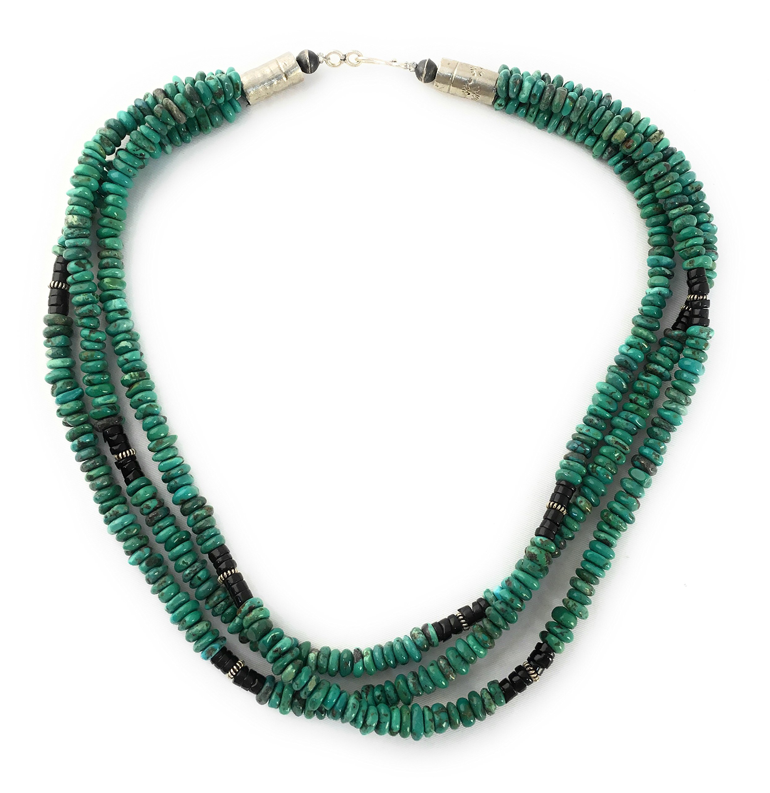Masha Storewide Sale ! Sterling Silver Necklace By Turquoise, Heishi, Made in USA - Exclusive Southwestern Handmade Jewelry, Gift