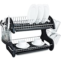 Home Basics NEW 2 Tier Black Dish Drainer Drying Rack
