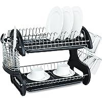 Home Basics NEW 2 Tier Black Dish Drainer Drying Rack Washing Organizer (Black)