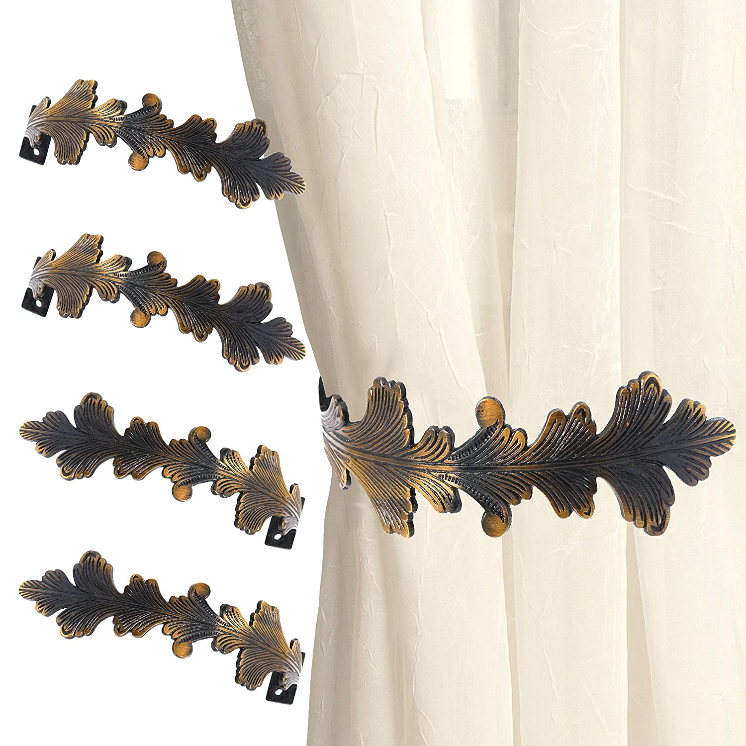 4x Large Antique Brass Curtain Hold Backs - Leaf Design Drape Holders/Arms White Hinge