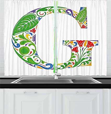 Amazon Com Ambesonne Letter G Kitchen Curtains Colorful Floral