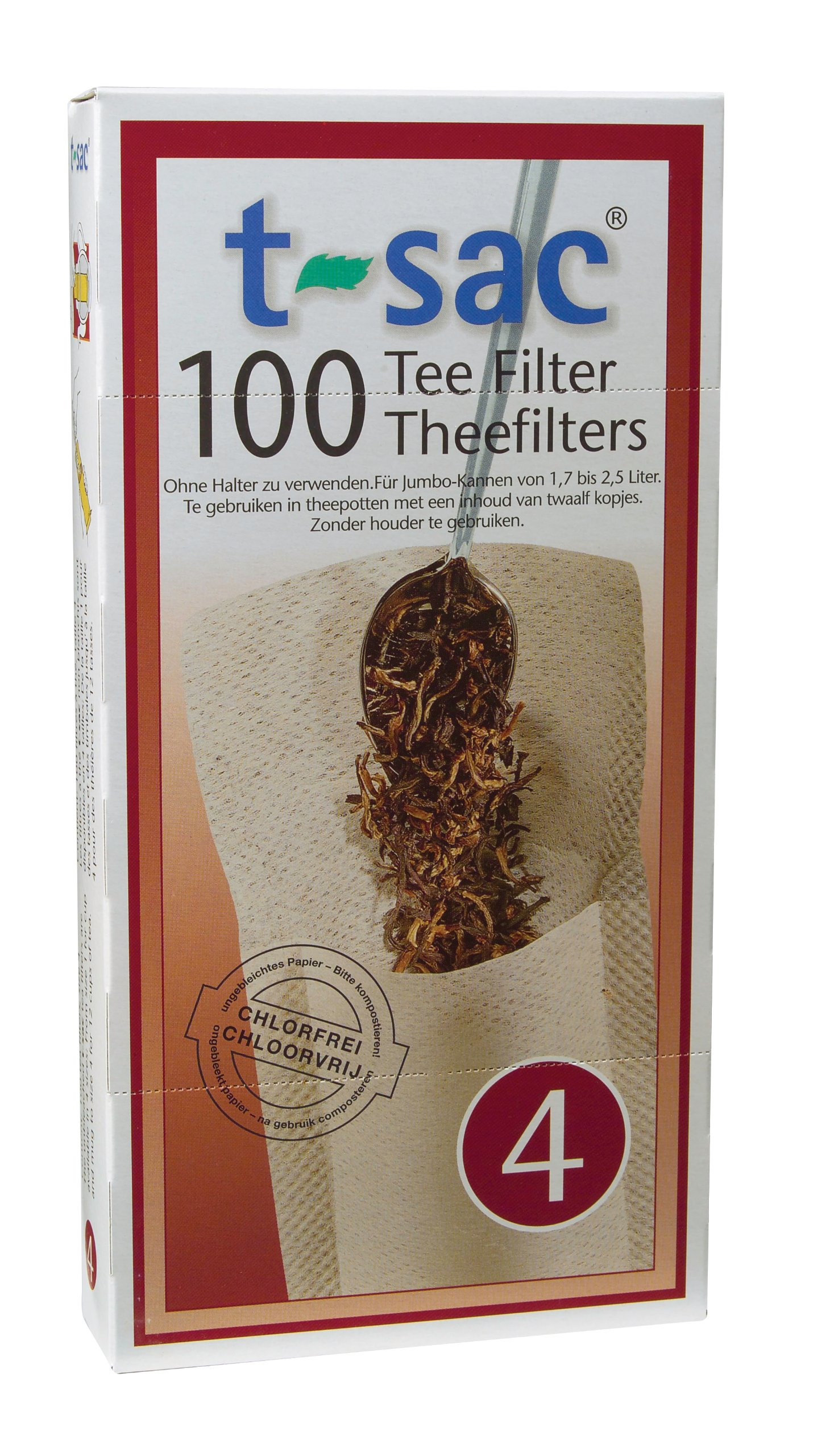 T-Sac Tea Filter Bags, Disposable Tea Infuser, Number 4-Size, 6 to 12-Cup Capacity, Set of 400 by T-Sac (Image #1)