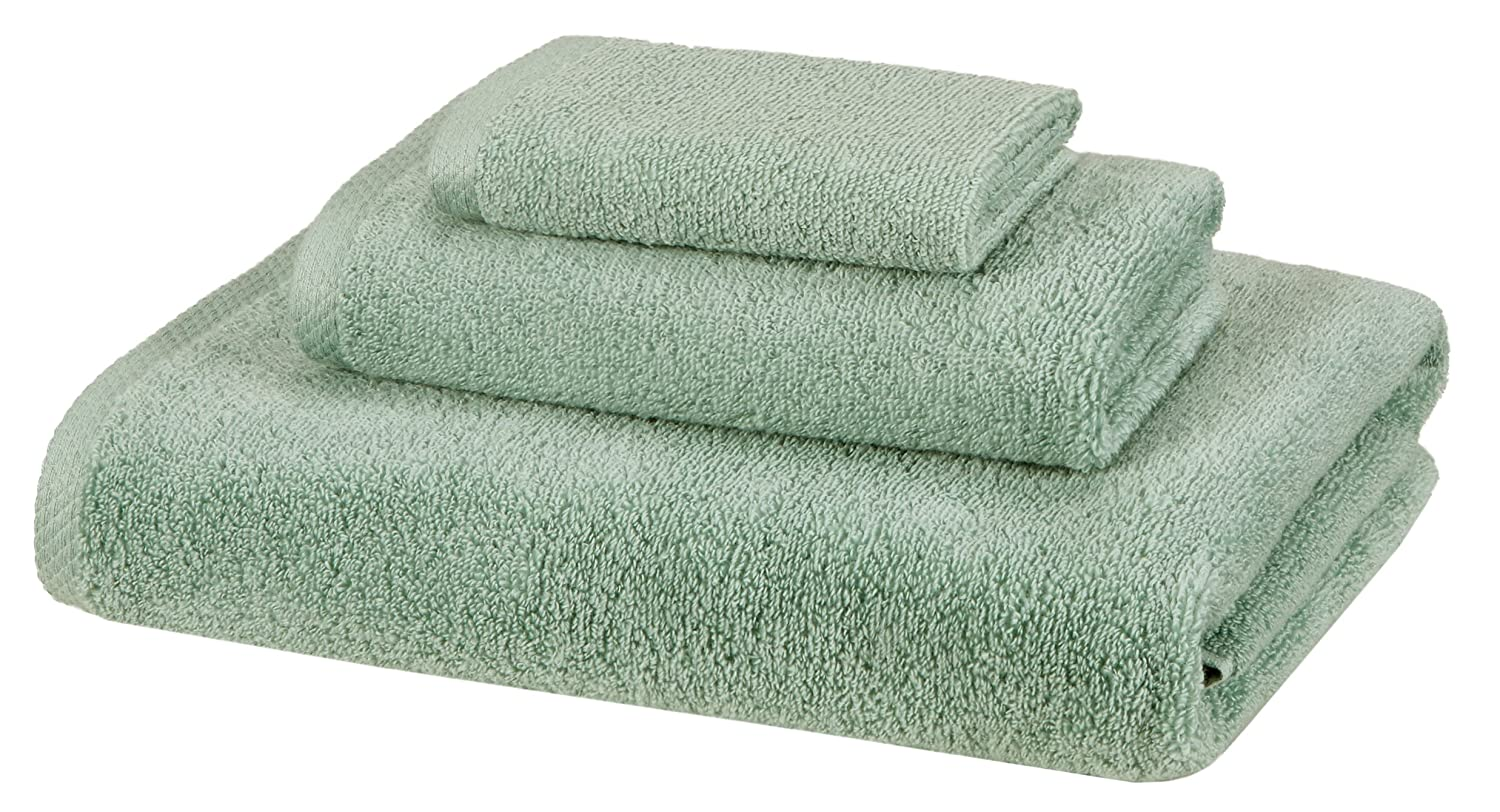 AmazonBasics Quick-Dry Towels - 100% Cotton, 3-Piece Set, Seafoam Green