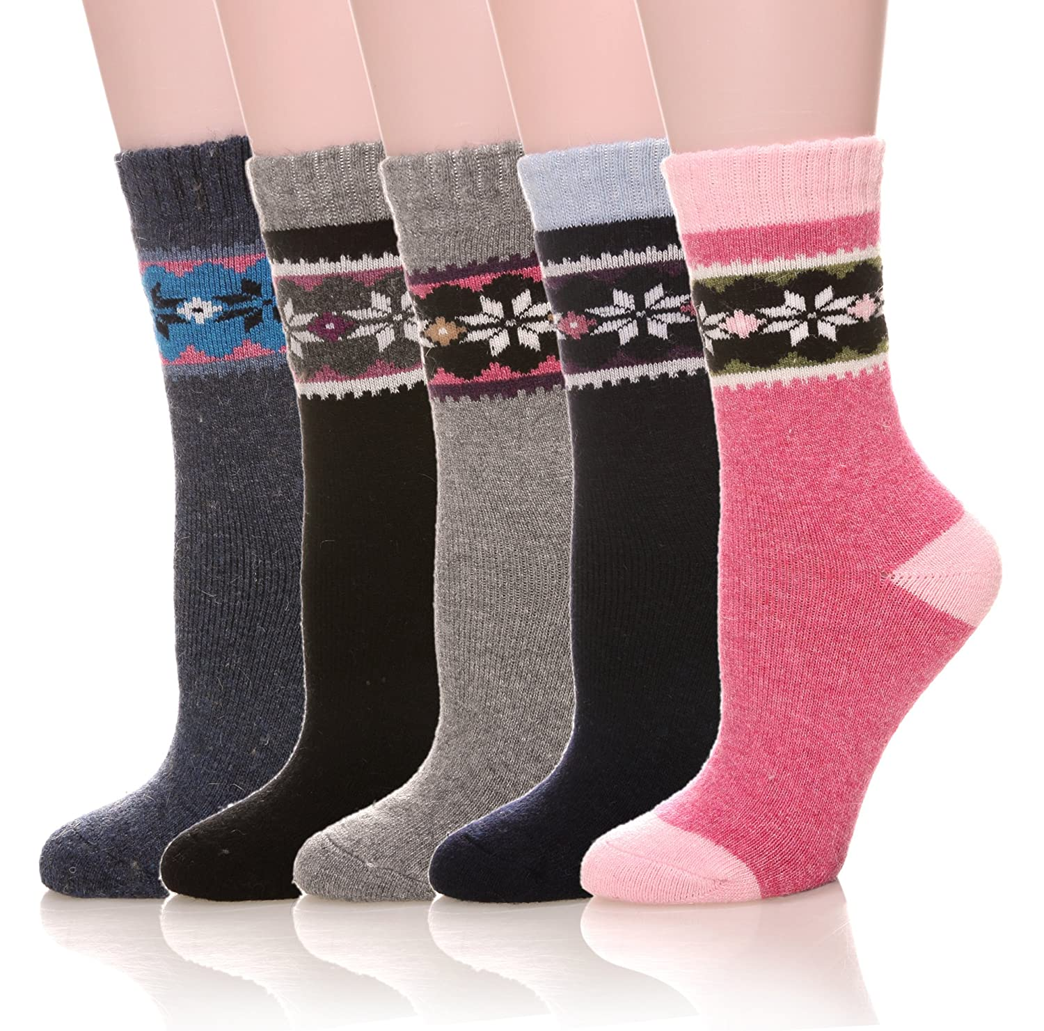Velice Women's Winter Wool Warm Thickened Crew Socks 5 Pair