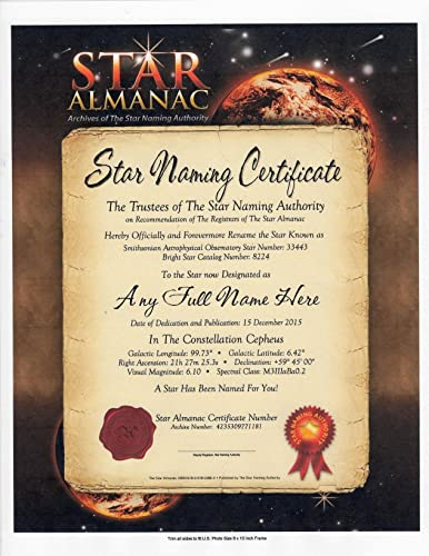Amazon Com Star Naming Official Certificate Gift Name A Star