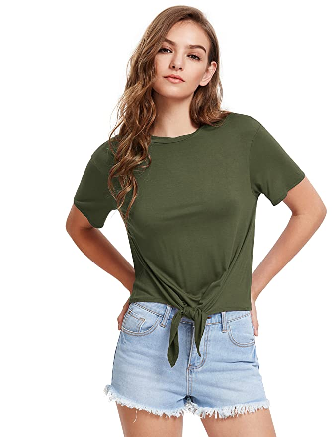 Romwe Women's Short Sleeve Tie Front Knot Casual Loose Fit Tee T-Shirt White S