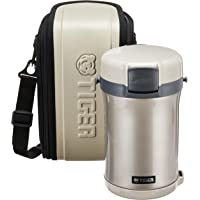 Tiger Vacuum Insulated Double Stainless Steel Lunchbox and Bag, Warm Silver, 2 L