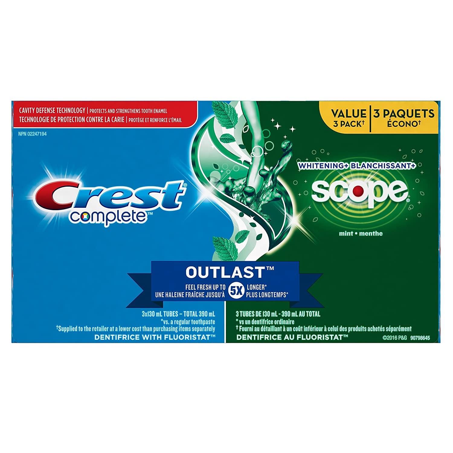 Crest Complete Whitening + Scope Toothpaste, Minty Fresh - (Pack of 2)
