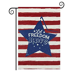 Roberly Let Freedom Ring Stripes Stars Patriotic Garden Flag, Double Sided 4th of July Garden Flag Memorial Day Independence Day Yard Flag Outdoor Home Patriotic Decorations Gifts 12.5 X 18 Inches