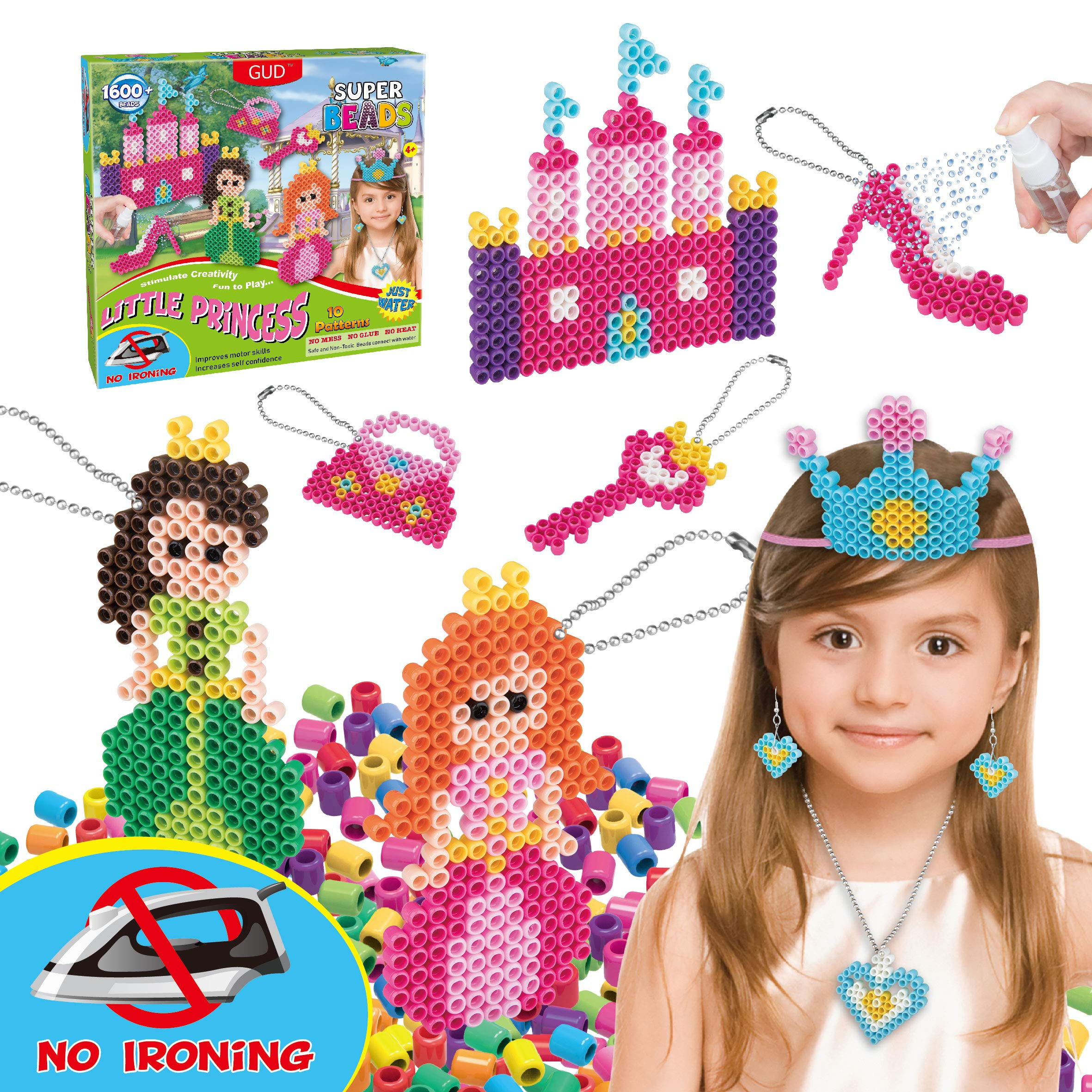 Kids DIY Water Fuse Non Iron Super Beads Girls Arts and Crafts Toy Set. Girls Indoor Activity Fun Project Little Princess Crafts Kit for Girls. Birthday Gift Age 4 5 6 7 8 9 Year Old Girl Perler Beads by GUD