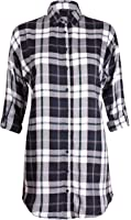 Womens ¾ Turn Up Sleeve Ladies Button Through Collar Wide Check Long Shirt Top