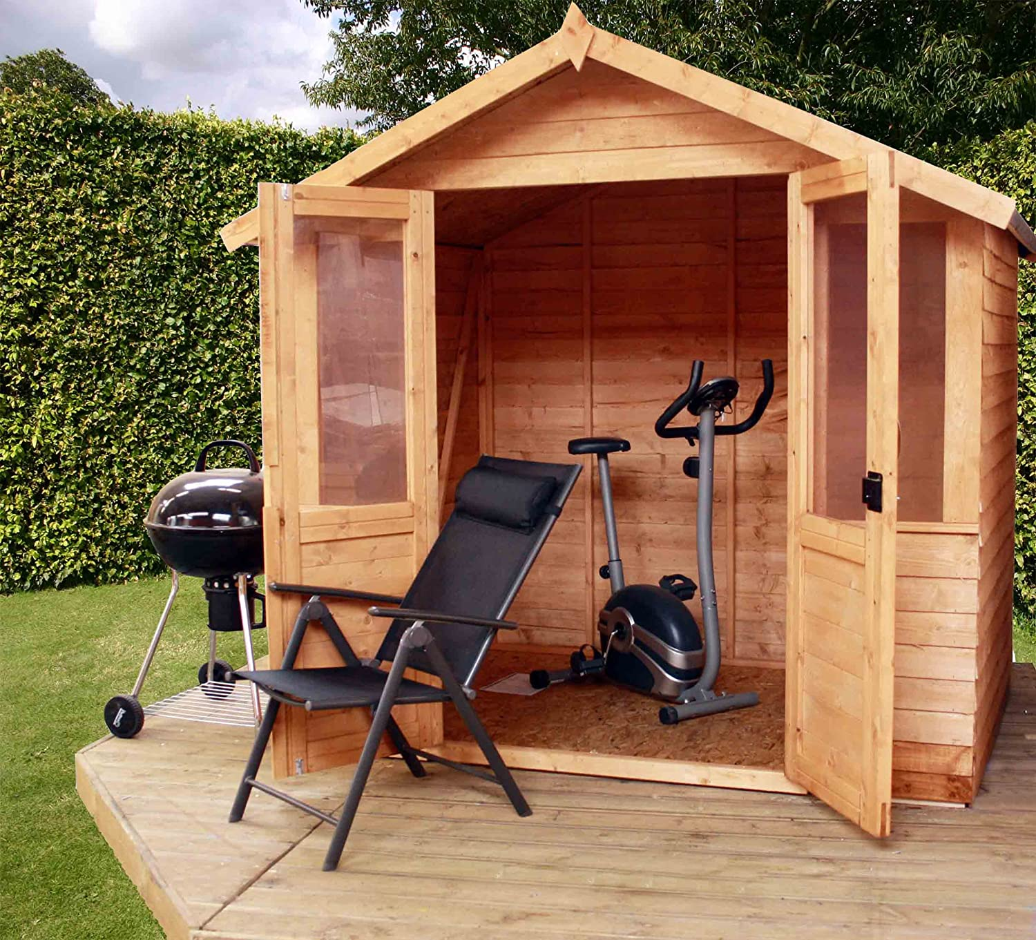 7 X 5 Overlap Traditional Summerhouse Summerhouse Wooden Summer House Shed  Outdoor Building From Buttercup Farm Amazoncouk Garden Outdoors