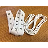 1 yard of White Cotton Grommet Eyelet Tape and includes 3 yards White Cotton Drawcord