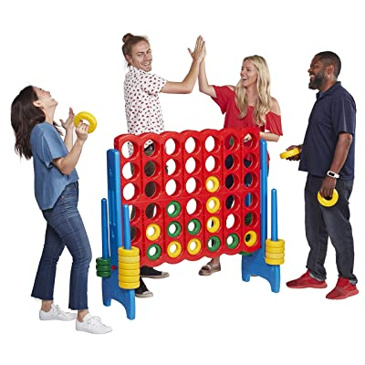 ECR4Kids Jumbo 4-to-Score Giant Game Set, Backyard Games for Kids, Jumbo Connect-All-4 Game Set, Indoor or Outdoor Game, Adult and Family Fun Game, Easy to Transport, 4 Feet Tall, Primary Colors: Toys & Games
