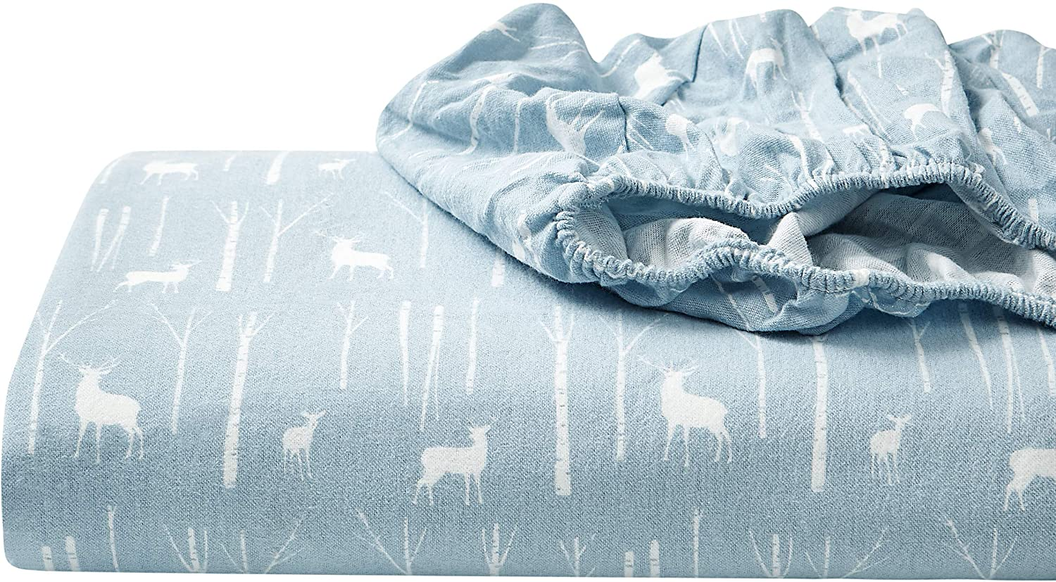Eddie Bauer - Flannel Collection - 100% Premium Cotton Bedding Sheet Set, Pre-Shrunk & Brushed For Extra Softness, Comfort, and Cozy Feel, Twin, Birch Forest