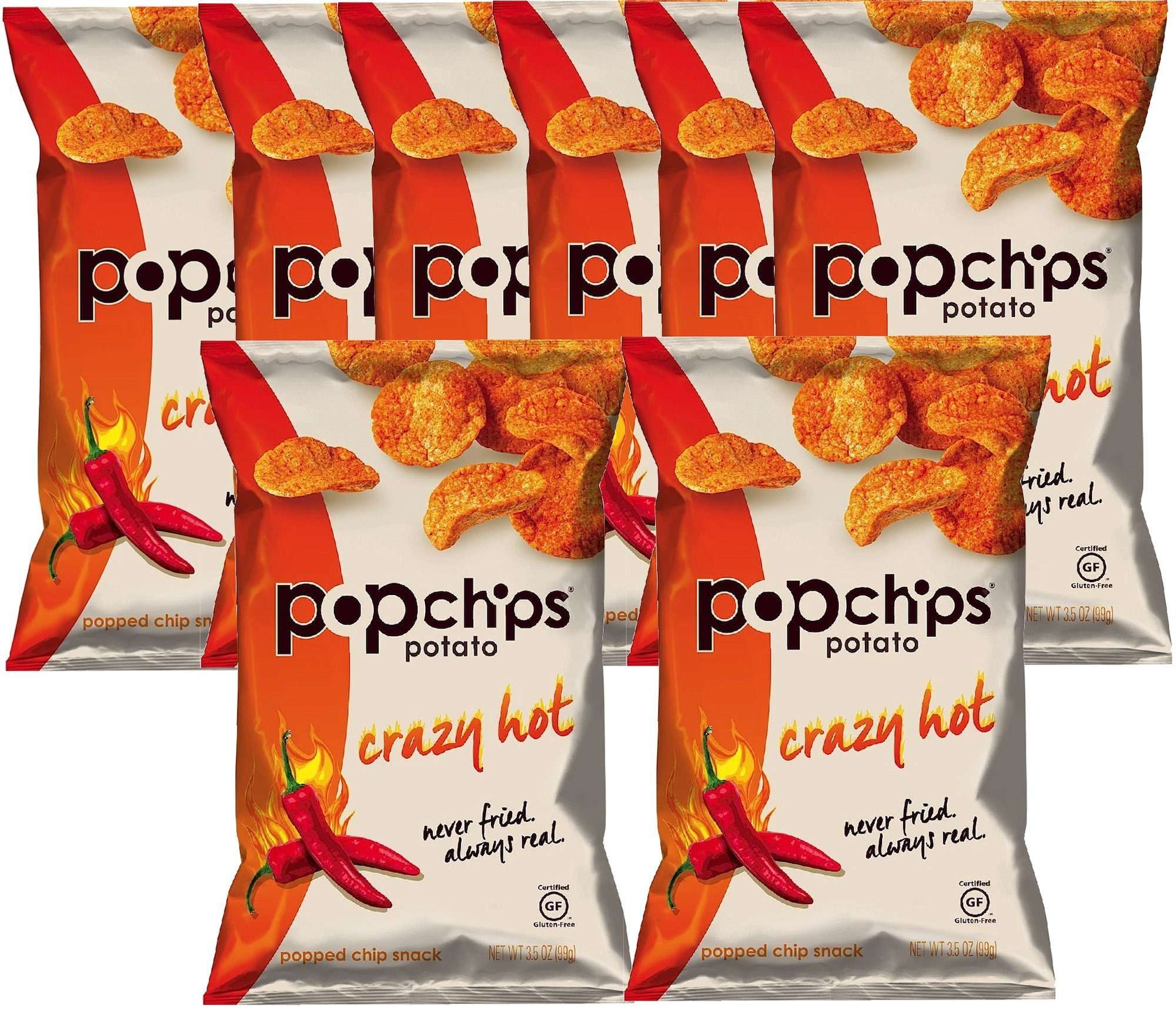 Popchips Crazy Hot Gluten Free Potato Chips, 3.5 oz (8)