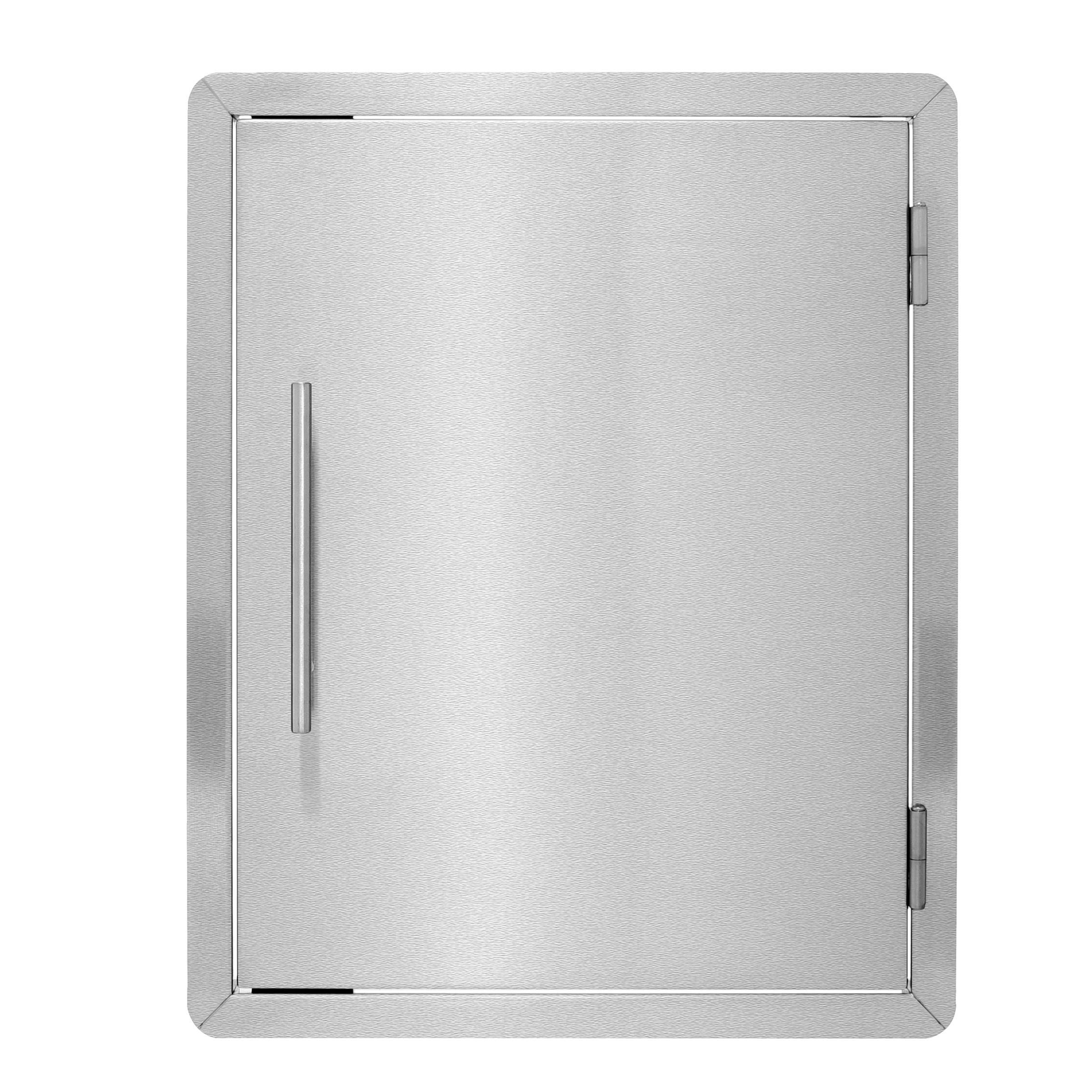 AdirHome 17⅞'' Stainless Steel Grill Single Access Double-Face Door with Towel Holder - Heavy Duty Stainless Steel Rust Resistant Access Door with Chromium Plated Handle