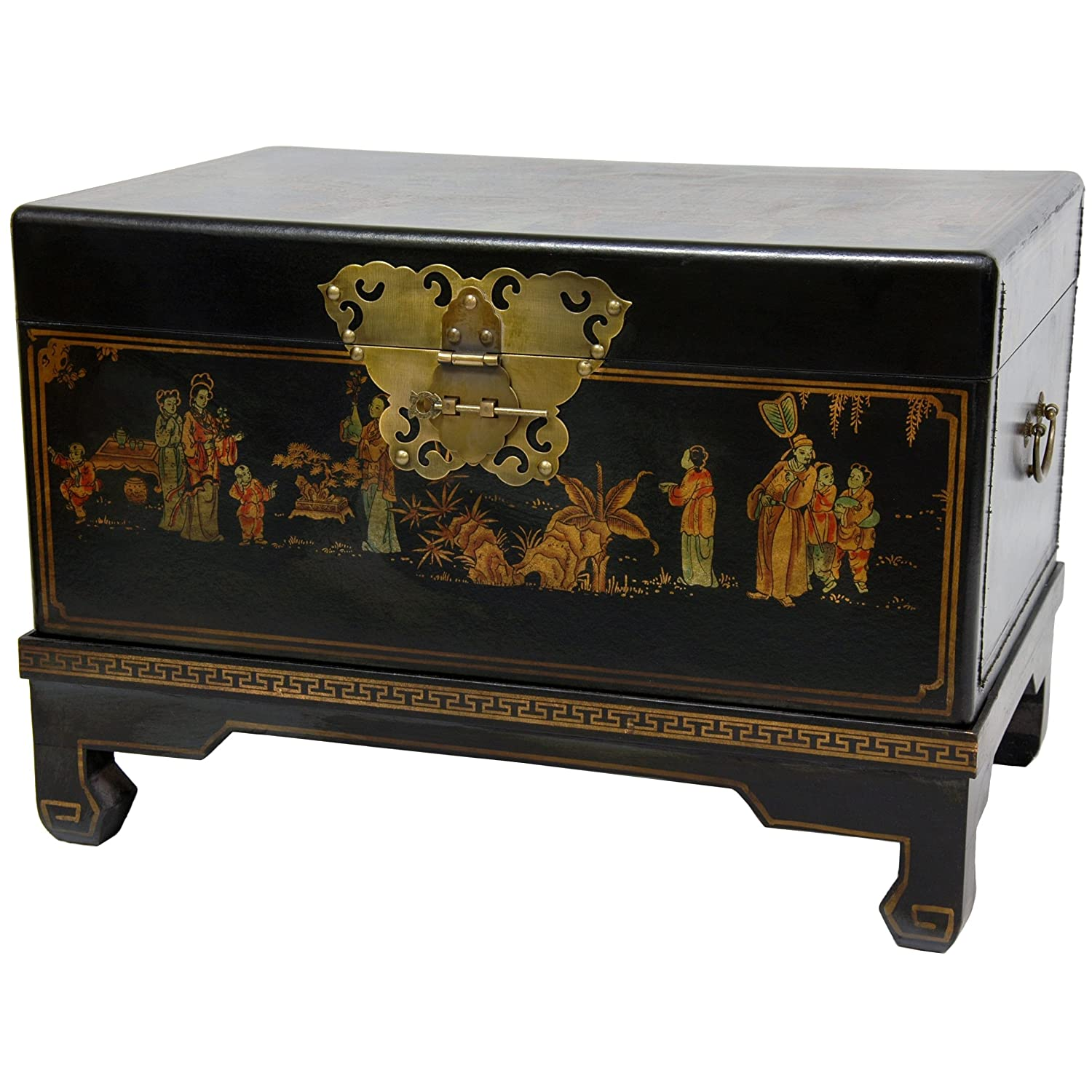 Amazon.com: Oriental Furniture Black Lacquer Small Trunk: Home U0026 Kitchen