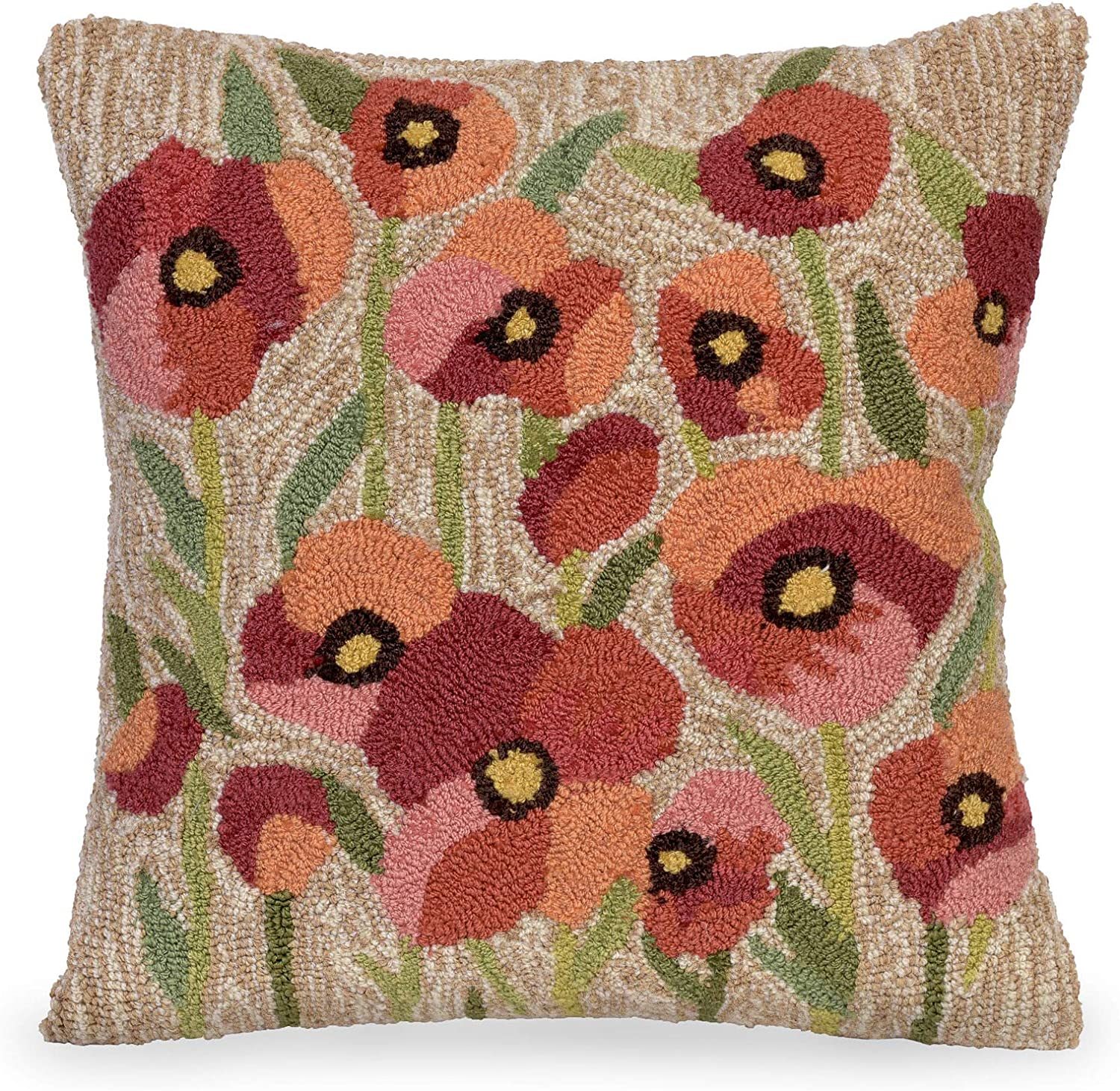 Liora Manne Whimsy Peace Floret Indoor Outdoor Pillow, 18 x 18 , Neutral