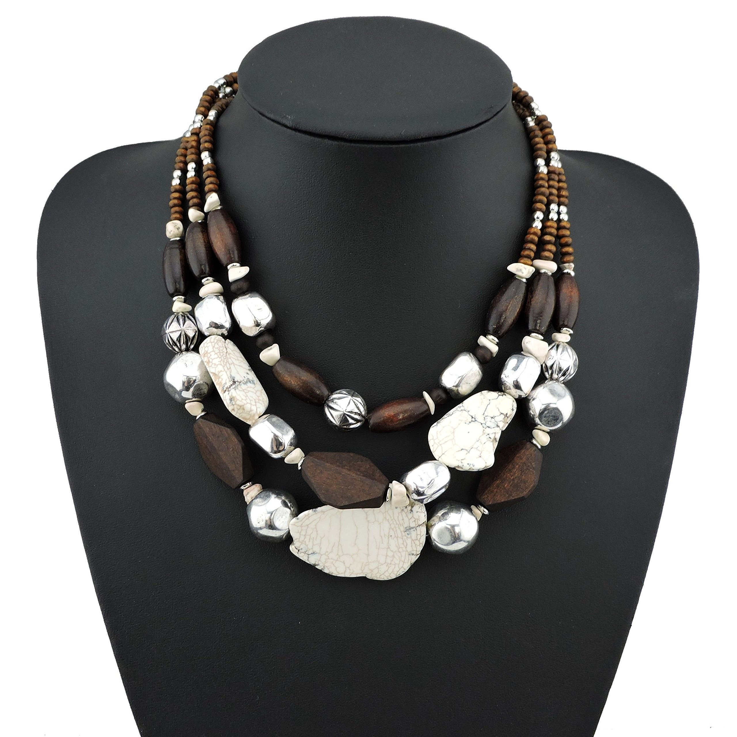 BOCAR Personalized Layered Strands Turquoise Statement Chunky Necklace for Women Gifts (NK-10124-white)