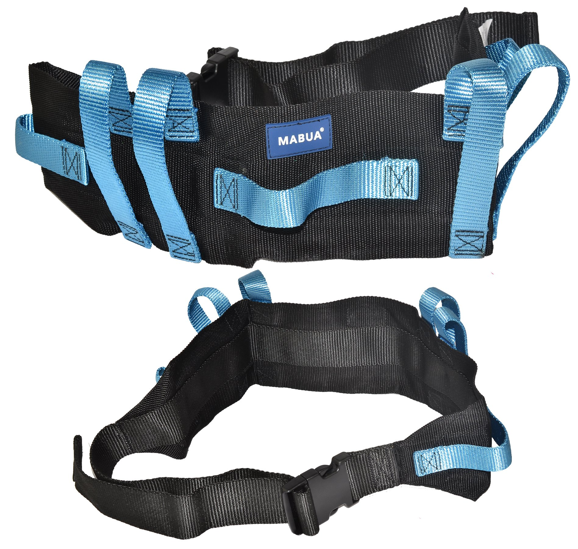 Transfer Gait Belt with 7 Loop Handles Grips & Easy Release 60 inches Plastic Buckle. Available in Metal Buckle. by MABUA