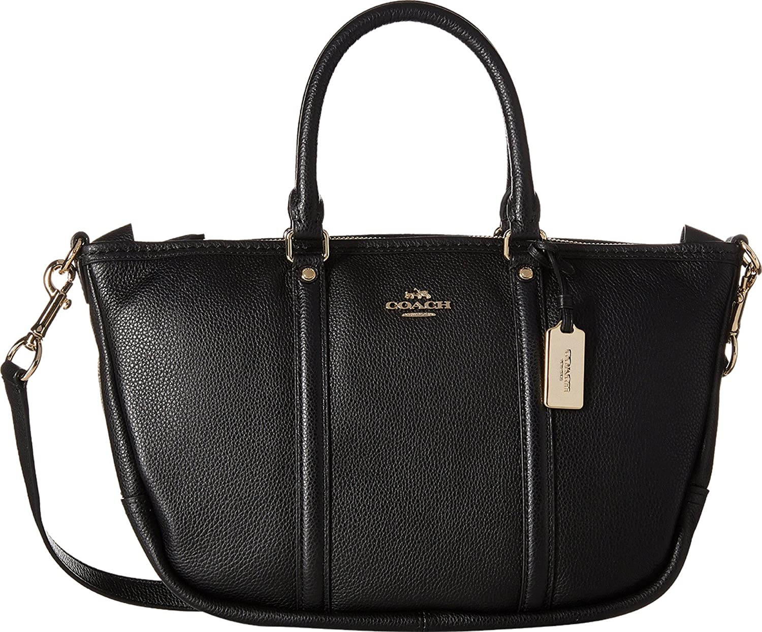 4df0593c39 Amazon.com  COACH Women s Pebbled Small Coach Central Satchel Li Black  Handbag  Shoes