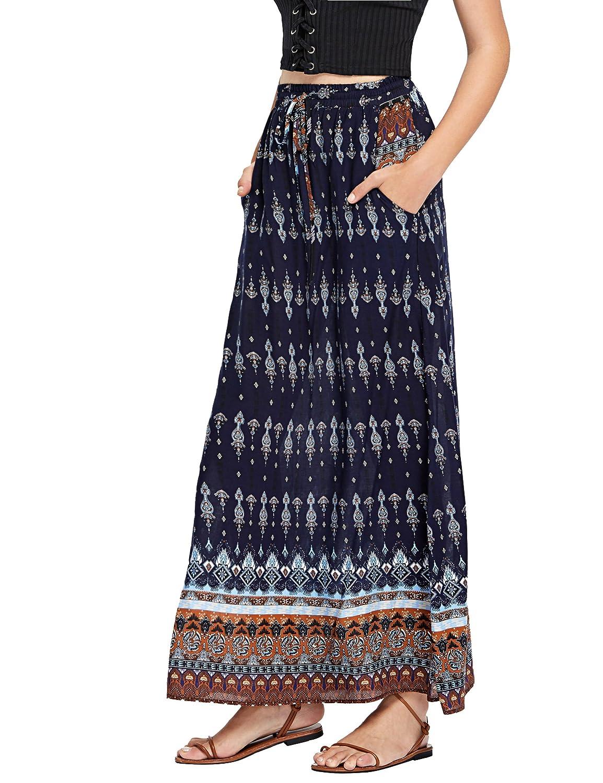 60s Skirts | 70s Hippie Skirts, Jumper Dresses Milumia Womens Boho Vintage Print Pockets A Line Maxi Skirt $25.99 AT vintagedancer.com