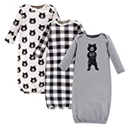 Yoga Sprout Unisex Baby Cotton Gowns, Bear Hugs 3-Pack, 0-6 Months