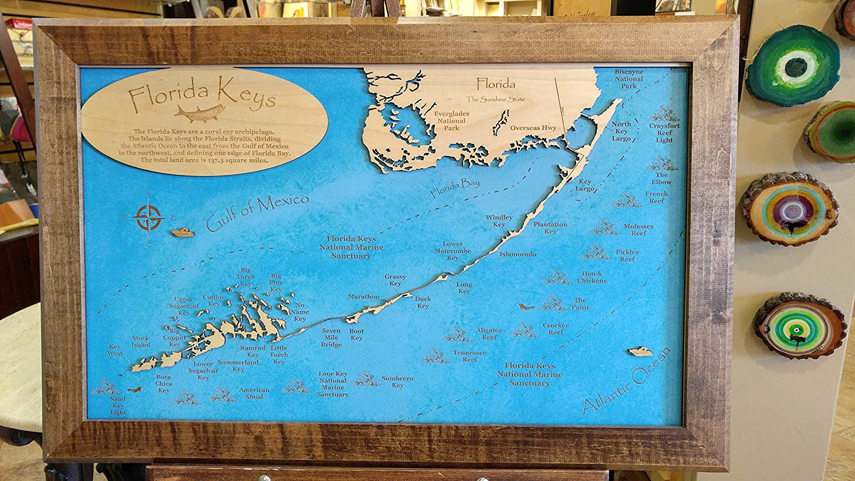 Amazoncom  Wood Map Wall Hanging The Florida Keys Florida - Florida keys map art