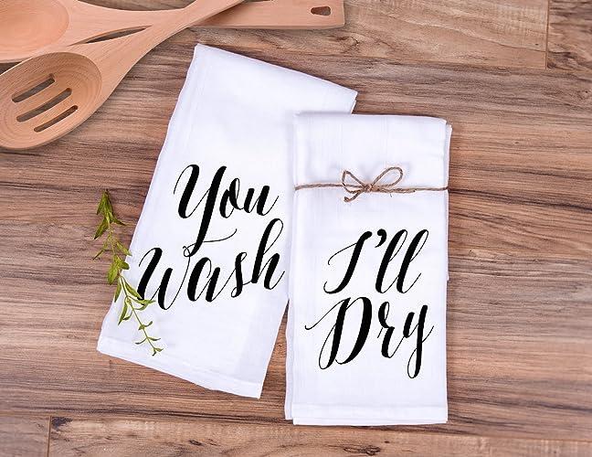 Amazon Com Kitchen Towel Gift Set You Wash I Ll Dry Wedding Gift