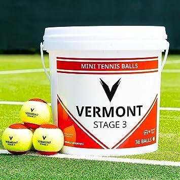 Vermont Cubo de Pelota de Tenis Entrenamiento a presión Pelotas de Tenis - Mini Pelotas de Tenis aprobadas por la ITF - Pelotas de Tenis duraderas: ...