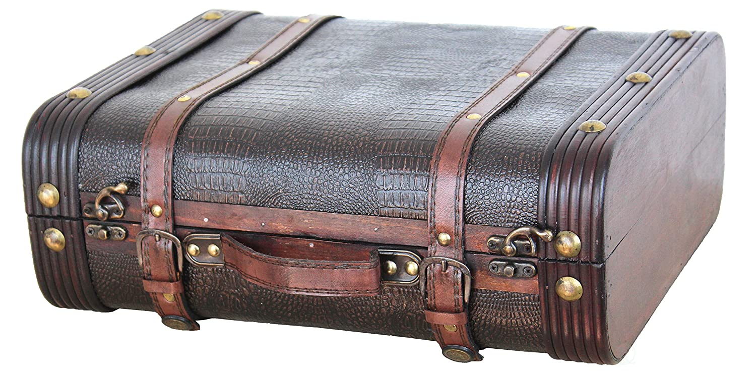Vintiquewise Decorative Leather Suitcase, Wood, Antique Cherry Quickway Imports QI003009