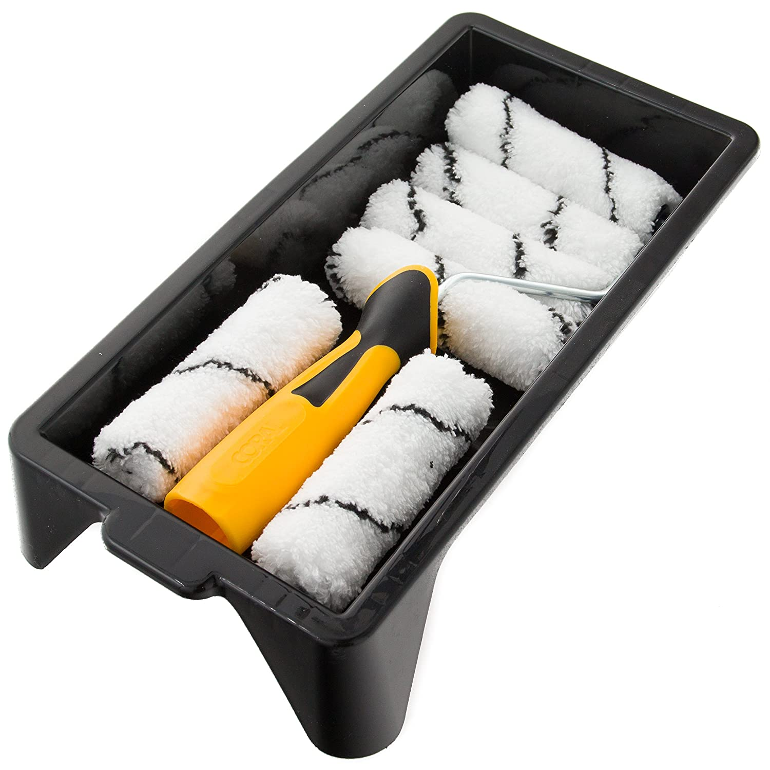 Coral 43400 Easy Coater Paint Mini Roller Kit with Microfibre Covers for Emulsion 4 inch 8 Piece Pack Set Coral Tools Ltd