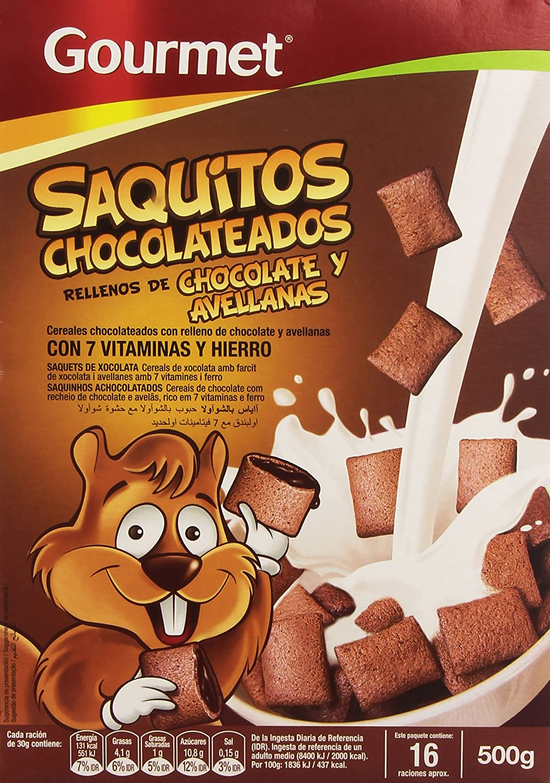 Gourmet Saquitos Chocolateados Rellenos de Chocolate y Avellanas Cereales, 500g
